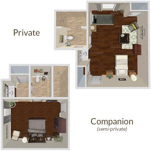 An image depicting private and semi-private floor plans at avalon. Private floor plans include a large bedroom and split washroom/shower. Semi-private floor plans offer a shared bedroom with a single bathroom/shower.